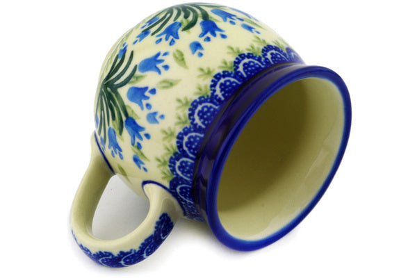 Polish Pottery Bubble Mug 12 oz Feathery Bluebells Theme