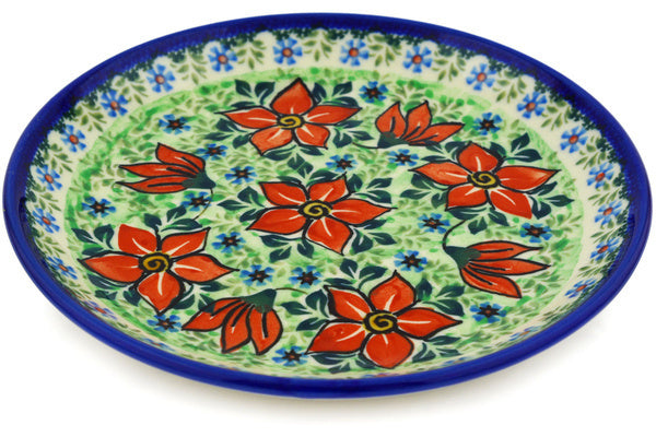 "Polish Pottery Plate 8"" Red Potentilla Theme UNIKAT"