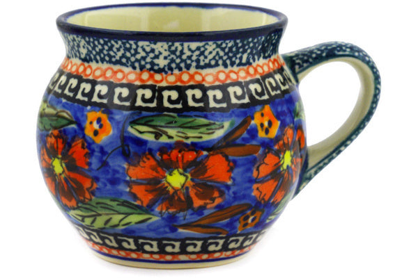 Polish Pottery Bubble Mug 7 oz Poppies Theme UNIKAT