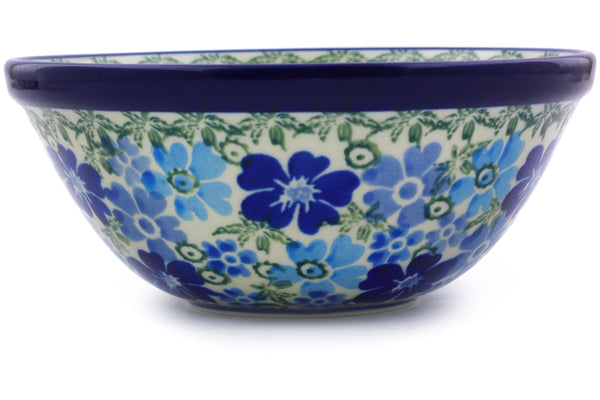 "Polish Pottery Bowl 5"" Fields Of Blue Theme UNIKAT"