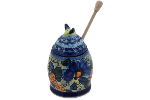"Polish Pottery Honey Jar with Dipper 6"" Corn In The Blue Theme UNIKAT"