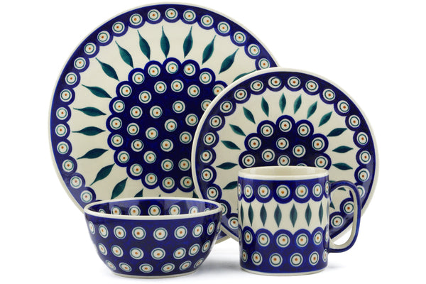 Polish Pottery place setting Peacock Theme