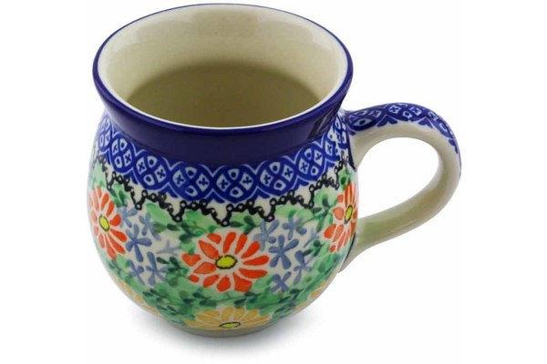 Polish Pottery Bubble Mug 12 oz Red And Yellow Daisy Theme UNIKAT