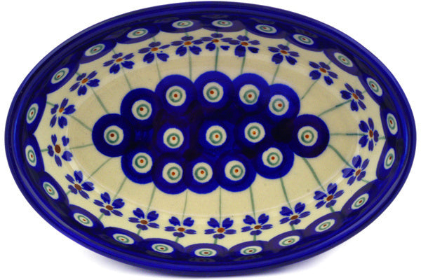 "Polish Pottery Condiment Dish 6"" Flowering Peacock Theme"