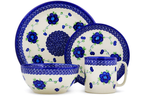 Polish Pottery place setting Blue Poppies Theme