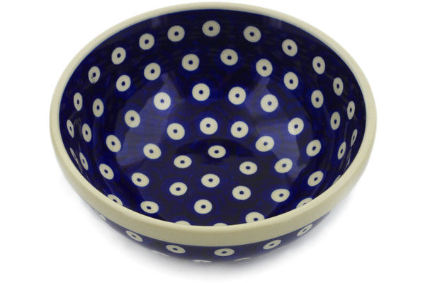 "Polish Pottery Bowl 6"" Peacock Eyes Theme"
