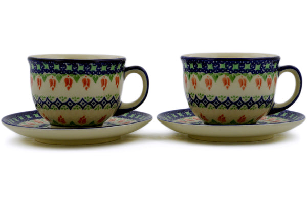 Polish Pottery cup w/ saucer set of 2 Tulips And Diamonds Theme