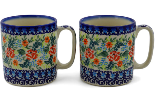 Polish Pottery mug set of 2 Rose Garden Theme UNIKAT