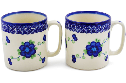 Polish Pottery mug set of 2 Blue Poppies Theme
