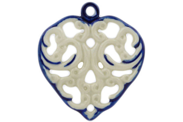 "Polish Pottery Heart Pendant 3"" Cream Waves Theme"