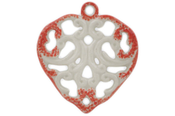 "Polish Pottery Heart Pendant 3"" Red Theme"