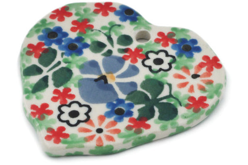 "Polish Pottery Ornament Heart 2"" Spring Garden Theme UNIKAT"