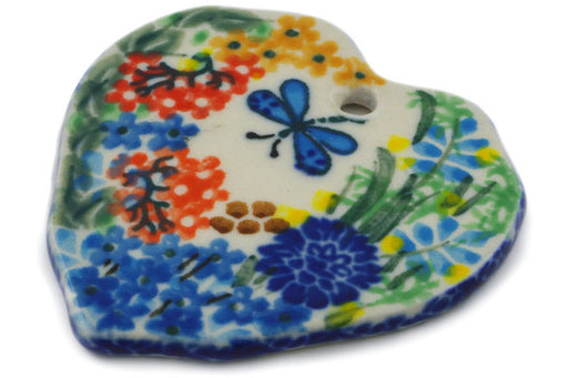 "Polish Pottery Ornament Heart 2"" Garden Delight Theme UNIKAT"