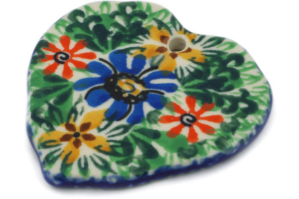 "Polish Pottery Ornament Heart 2"" Profusion Theme UNIKAT"