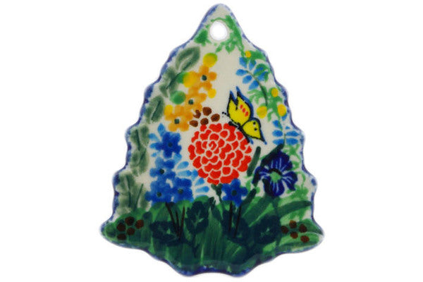 "Polish Pottery Christmas Tree Pendant 3"" Spring Garden Theme UNIKAT"