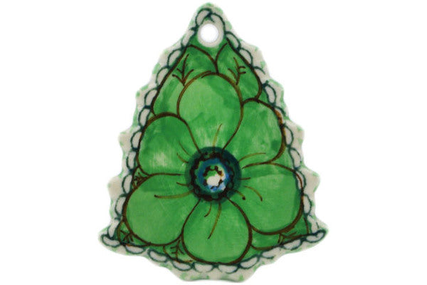"Polish Pottery Christmas Tree Pendant 3"" Green Pansies Theme UNIKAT"
