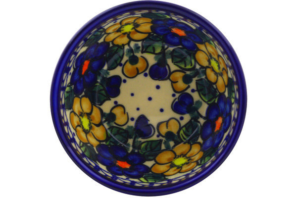 "Polish Pottery Bowl 5"" Pansy Circle Theme UNIKAT"