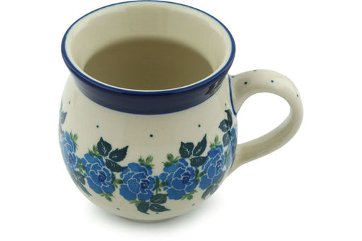 Polish Pottery Bubble Mug 12 oz Blue Garland Theme