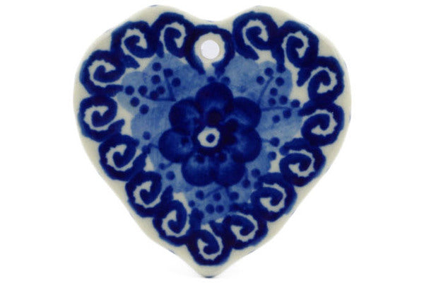 "Polish Pottery Ornament Heart 2"" Dancing Blue Poppies Theme UNIKAT"