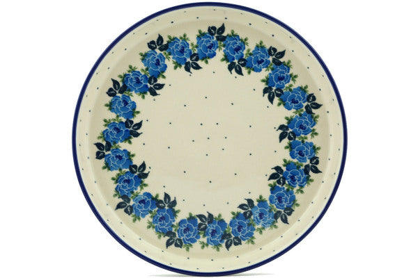 "Polish Pottery Cookie Platter 10"" Blue Garland Theme"