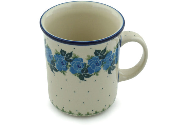 Polish Pottery Mug 20 oz Blue Garland Theme