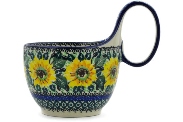 Polish Pottery Bowl with Loop Handle 16 oz Yellow Sunflowers Theme UNIKAT