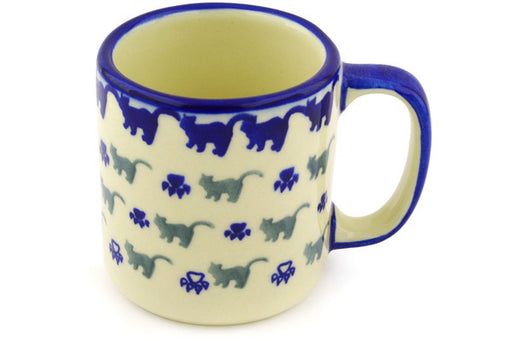 Polish Pottery Mug 12 oz Boo Boo Kitty Paws Theme