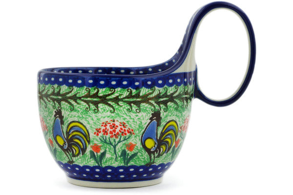 Polish Pottery Bowl with Loop Handle 16 oz Rooster Dance Theme UNIKAT