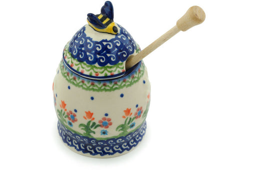 "Polish Pottery Honey Jar with Dipper 5"" Spring Flowers Theme"