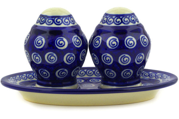 "Polish Pottery Salt and Pepper Set 7"" Cobalt Swirl Theme"