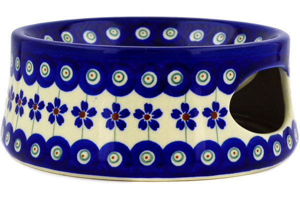 "Polish Pottery Pet Bowl 6"" Flowering Peacock Theme"