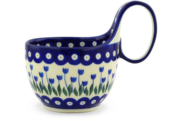 Polish Pottery Bowl with Loop Handle 16 oz Blue Tulip Peacock Theme