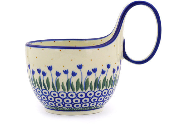 Polish Pottery Bowl with Loop Handle 16 oz Water Tulip Theme