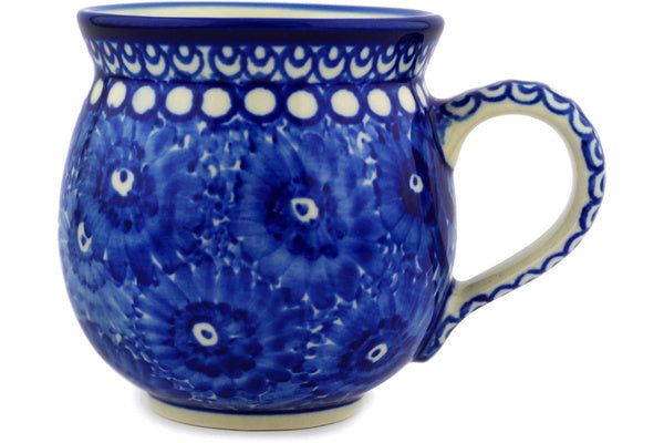 Polish Pottery Bubble Mug 12 oz Moody Blue Daisy Theme UNIKAT