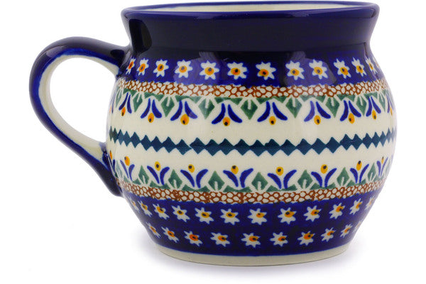 Polish Pottery Bubble Mug 16 oz Floral Peacock Theme UNIKAT