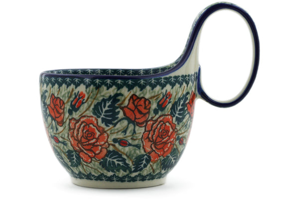 Polish Pottery Bowl with Loop Handle 16 oz Rose Princess Theme UNIKAT