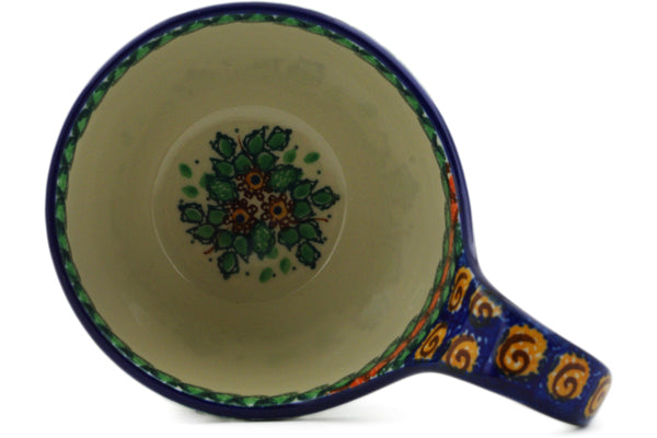 Polish Pottery Bowl with Loop Handle 16 oz Maple Leaves Theme UNIKAT