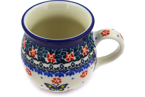 Polish Pottery Bubble Mug 8 oz Spring Butterfly Theme