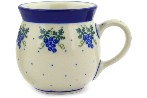 Polish Pottery Bubble Mug 8 oz Grape Vines Theme