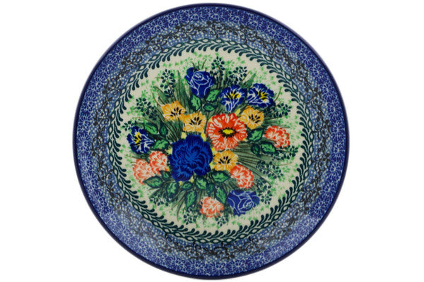 "Polish Pottery Plate 8"" Divine Meadow Theme UNIKAT"