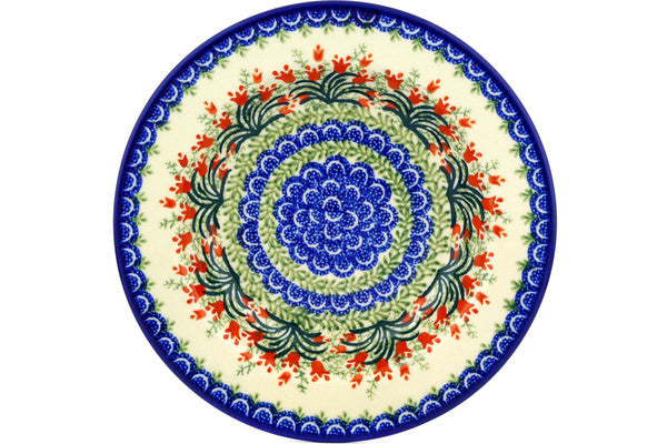 "Polish Pottery Pasta Bowl 9"" Crimson Bells Theme"