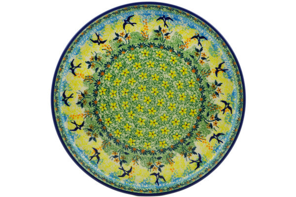 "Polish Pottery Round Platter 10"" Birds In The Sunset Theme UNIKAT"