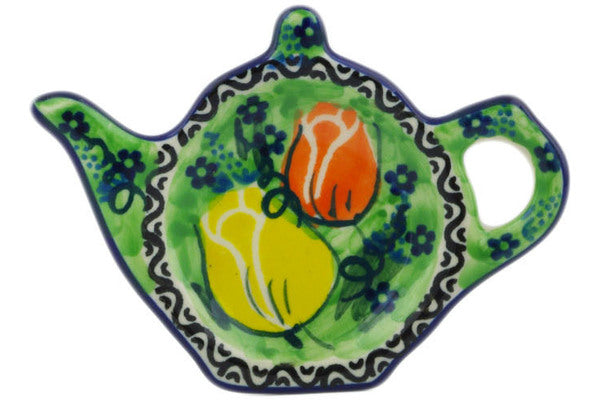 "Polish Pottery Tea Bag or Lemon Plate 5"" Easter Rose Theme UNIKAT"