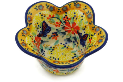 "Polish Pottery Bowl 4"" Butterfly Summer Garden Theme UNIKAT"
