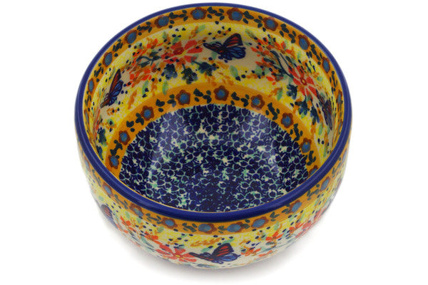 "Polish Pottery Bowl 5"" Butterfly Summer Garden Theme UNIKAT"