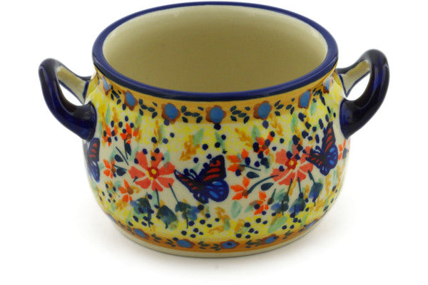 Polish Pottery Bouillon Cup 13 oz Butterfly Summer Garden Theme UNIKAT