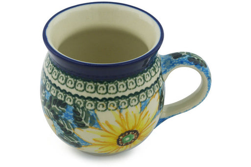 Polish Pottery Bubble Mug 12 oz Black Eyed Susan Theme UNIKAT