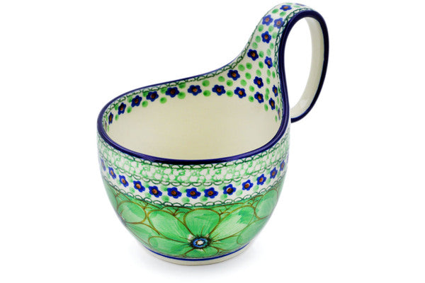 Polish Pottery Bowl with Loop Handle 16 oz Green Pansies Theme UNIKAT