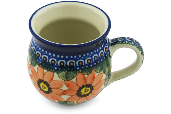 Polish Pottery Bubble Mug 12 oz Red Blooms Theme UNIKAT
