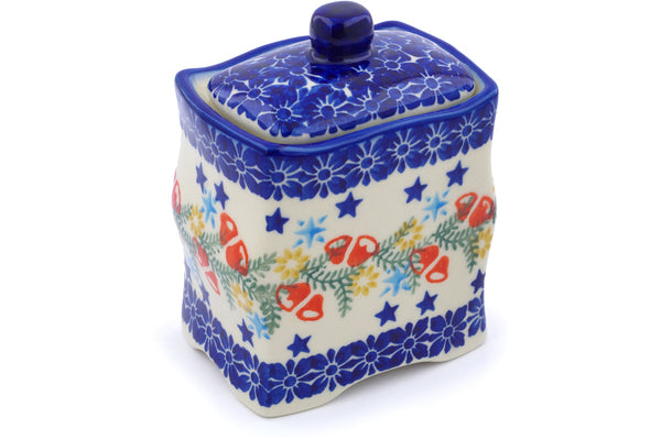 "Polish Pottery Jar with Lid 4"" Wreath Of Bealls Theme"